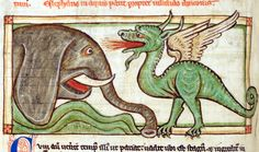 dragon and elephant Liber de natura bestiarum, England after 1236. British Library, Harley 3244, fol. 39v