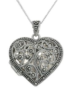 Genevieve & Grace Sterling Silver Necklace, Marcasite Filigree Heart Locket Pendant - All Fine Jewelry - Jewelry & Watches - Macy's Sterling Silver Name Necklace, Sterling Silver Flowers, Silver Chain Necklace, Locket Necklace, Pendant Earrings, Geode Jewelry, Marcasite Jewelry, Heart Jewelry, Jewellery