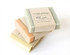 3 Organic Soap Sample Set French Clay by HerbivoreBotanicals
