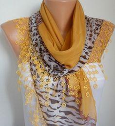 Mustard Scarf  Zebra Print Scarf Shawl    Cotton by fatwoman
