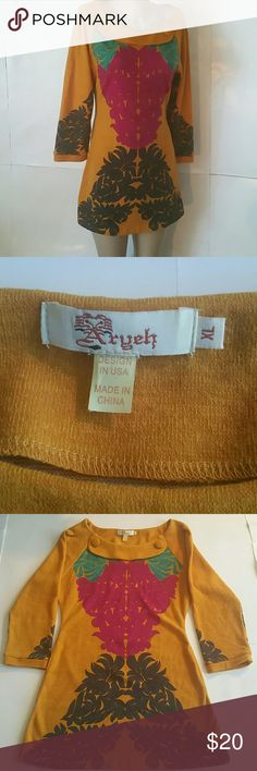 Aryeh Bright Stunning Color EUC Long Tunic XL Aryeh Excellent used condition  Stunning colorful long tunic Colors:  yellow gold teal fushia black gray Long sleeves  Round interfaced neckline  Front faced trimmed flap on neck with cloth buttons  Size XL Pit to pit measures 19 inches  Length from shoulders measures 32 inches  Design in USA  Made in China Aryeh Tops Tunics