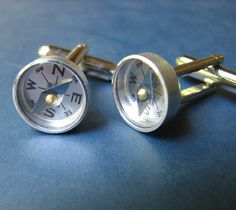 I don't wear cufflinks, but I'd wear these. Navigator Compasses on Etsy.com $20
