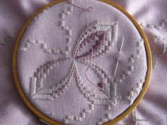 After Sunday's Hardanger meeting; the ladies helped me understand how to read the pattern and I took pictures of Sandra's blue piece to foll. Crochet Doily Patterns, Crochet Doilies, Drawn Thread, Point Lace, Paper Embroidery, Tatting Lace, Bargello, Christmas Bells, Needle And Thread