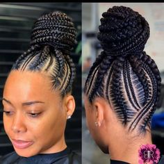 Beautiful braids if you want to see more click in the link and watch all my videos 😍💞 Braided Cornrow Hairstyles, Feed In Braids Hairstyles, Braids Hairstyles Pictures, Cornrow Ponytail, Braided Hairstyles For Black Women, African Hairstyles, Hair Pictures, Feed In Braids Bun, Black Hair Braid Hairstyles
