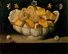 Still life with cakes, Josefa de Obidos painting at the Museum of Évora, Portugal. 1660 - 1670
