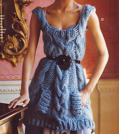 Beautiful cabled dress. Pattern on website.