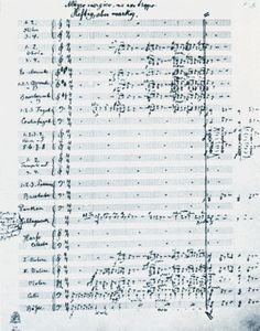 "Gustav Mahler: first page of his Symphony No.6 (sometimes called ""The Tragic"") in A minor = A2SO Season Finale Apr 27 http://www.a2so.com/concerts/mainstage_concerts/mahler"