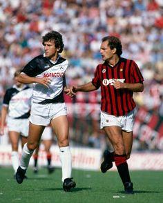 Ray Wilkins (AC Milan) marking Zico (Udinese) 1984.