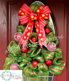 Light-Up Christmas Tree Wreath by aDOORableDecoWreaths on Etsy