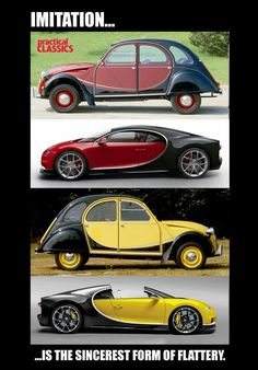 The sincerest form of flattery. Retro Cars, Vintage Cars, Antique Cars, Classic Motors, Classic Cars, Automobile, Bugatti Veyron, Amazing Cars, Old Cars