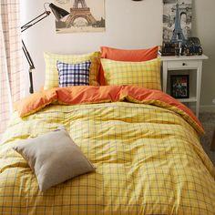北欧宜家全棉色织磨毛格子四件套床单床笠式纯棉活性印染套件包邮-淘宝网