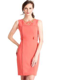 CHETTA B. Sleeveless Sheath Dress with Buttoned Waist