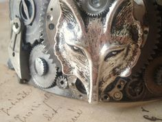 The Steampunk Wolf - Cuff Bracelet by DragonflyKeyJewelry, $95.00 - Has to be my favorite piece in my shop right now!