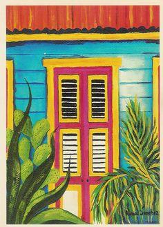 Caribbean Art, Summer Painting, Mini Canvas Art, Modern Impressionism, Tropical Art, Summer Art, Whimsical Art, Beach Art, Haiti