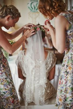 The final touch to getting ready, fastening the veil is a sweet moment you'll want to capture. Besides, you'll want a close-up of the veil's pretty details.Related: 50 Long Wedding Veils That Will Leave You Speechless Lace Wedding Dress, Wedding Veils, Wedding Dresses, Bridal Veils, Wedding Headpieces, Lace Veils, Wedding Ceremony, Wedding Styles, Wedding Photos