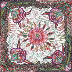 "Hermes ""flowers of Africa"" scarf designed by Ardmore Artists. 100% silk twill scarf, hand-rolled (90 cm x 90 cm)"
