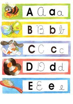 ESPAÇO EDUCAR: Fichas coloridas ilustradas com o alfabeto! Atividade para alfabetização e letramento!