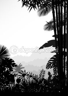 Forest landscape of tropical background — Stock Vector #94561580