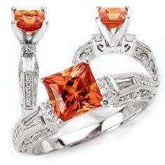 *18K Chatham 7mm princess cut padparadscha orange sapphire engagement ring with natural diamonds