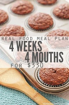 Monthly meal plan on a budget - this real food meal plan is for anyone looking to save money on food. It feeds a family of 4 for $330, includes simple recipes and ideas for breakfast, lunch and dessert. Designed for clean eating whole foods, a great meal