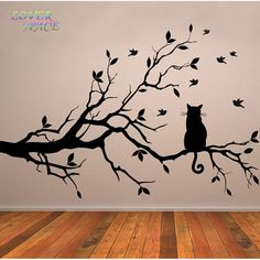 Find More Wall Stickers Information about Cat On Tree Branch Birds Wall Sticker Tree Vinyl Wall Decal Adesivi Murali Glass Film Window Stickers Home Decoration Wall Art,High Quality sticker wall art,China sticker art deco Suppliers, Cheap sticker seal from ACB Wall Art Store on Aliexpress.com