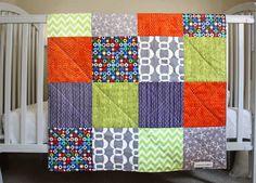 BABY Boy Quilt, Patchwork Quilt, Very Modern, Navy Blue, Orange Red, Gray, White, Lime, All Natural, Designer Fabrics, HANDMADE