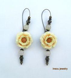 Flower earrings  Pastel earrings  Romantic by insoujewelry on Etsy