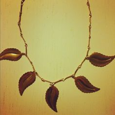 Jewelery gold necklace with leaves