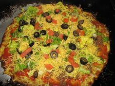It's almost Cinco de Mayo! This taco pizza is one of my very favorites! It's remniscent of the Godfather's Taco Pizza, but it's only 3 net carbs. Made with zucchini crust! Diabetic Recipes, Low Carb Recipes, Cooking Recipes, Healthy Recipes, Free Recipes, Protein Recipes, Gf Recipes, Veggie Recipes, Pizza Sans Gluten