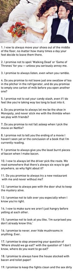 19 Honest Marriage Vows That Couples Should Actually Make - 9GAG