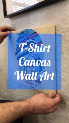Upcycle your favorite t-shirt into hanging wall art!  #tshirt #wallart #homedecor #queens #canvasart #canvas #easycraft #easyhack #worldsfair #fiskars