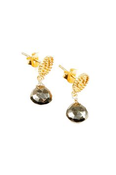 Gold and Pyrite Earrings