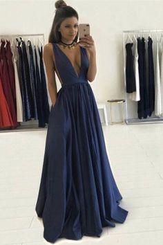 Long Sexy Prom Dress,Deep V Neck Prom Dresses,Sleeveless Evening Gowns,Formal Women Dress,SIM631