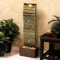 Having kids doesn't mean you shouldn't have a water fountain. Not only will they reduce stress, they'll help you get a good night's sleep and improve air quality. Indoor Waterfall Fountain, Indoor Water Fountains, Indoor Fountain, Garden Fountains, Fountain Design, Tabletop Fountain, Modern Garden Design, Home Goods Decor, Modern Exterior