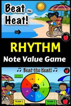 Summer Music Game: Beat the Heat Note Value Music Game: Rhythm Symbol Counting Music Sub Plans, Music Lesson Plans, Music Lessons, Art Lessons, Music Theory Games, Rhythm Games, Music Games, Music Activities For Kids, Music For Kids