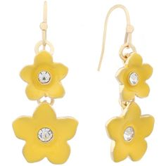 Liz Claiborne Flower Drop Earring Yellow And Goldtone ($11) ❤ liked on Polyvore featuring jewelry, earrings, flower drop earrings, liz claiborne, yellow drop earrings, flower jewelry and gold colored jewelry
