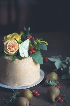 Chocolate cake with dulce de leche buttercream and sweet pears