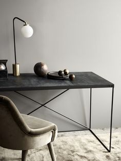Modern-day Inside Style In Your Laundry Space Tdc: Rue Verte Arrondissement Cph Leather Desk, Array Table Lamp and Frisco Velvet Chair Decor, Furniture Design, Interior Furniture, Home Office Decor, Leather Desk, Furniture, Home Decor, House Interior, Home Deco