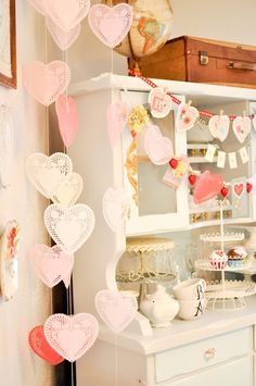 Darling DIY Valentine's Day decor.  wait but can i have this kitchen, also?