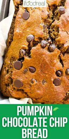 Healthy Pumpkin Chocolate Chip Bread is a fall must have. Moist, easy, fluffy and with wholesome ingredients pumpkin bread everyone loves. It is the best out there! Healthy Pumpkin Bread, Healthy Bread Recipes, Pumpkin Chocolate Chip Bread, Chocolate Chip Recipes, Healthy Baking, Baking Recipes, Dessert Recipes, Cheese Pumpkin, Pumpkin Recipes