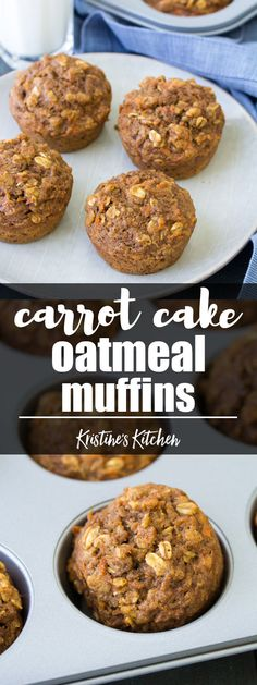 These Healthy Carrot Cake Oat Muffins are great for breakfast or your kids' lunchboxes. To make these carrot cake oatmeal muffins for toddlers, you can make them mini muffin size. Refined sugar free and whole grain! #carrot #carrotcake #lunchbox #muffins #breakfast #healthyrecipes #snack #freezerfriendly #oatmeal