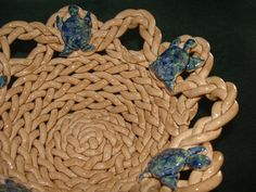 Braided sea turtle bowl with holes pottery bread warmer fruit bowl colander home decor