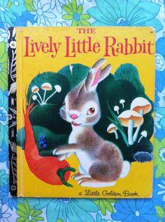 Vintage Little Golden Book, The Lively Little Rabbit!! Picture book for framed prints, scrapbooking or crafts (bunting, paper garlands etc)! by FibsandScraps on Etsy https://www.etsy.com/listing/251755498/vintage-little-golden-book-the-lively