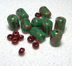 Green and Copper Handmade Beads and Spacers by BarbiesBest on Etsy, $11.00