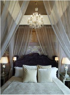 Creating a romantic bedroom doesn't have to cost thousands. The most romantic bedroom ideas focus on atmosphere, not acquisition.And given below are some of romantic bedroom ideas without spending a tremendous amount of money. Dream Bedroom, Home Bedroom, Bedroom Decor, Bedroom Ideas, Bedroom Designs, Pretty Bedroom, Bed Ideas, Bedroom Lamps, Bedroom Colors