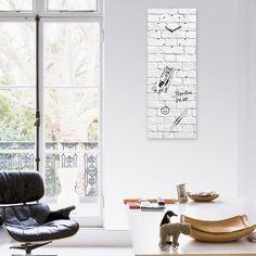 Magnetická tabule s hodinami Eurographic White Brick, 30x80cm Brick, Bricks