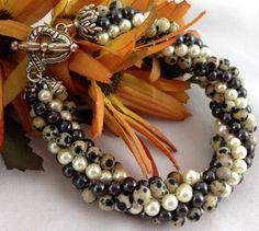 Twisted #Bracelet spotted Dalmatian Jasper Hematite Beaded #Crochet Bangle @ntonelli