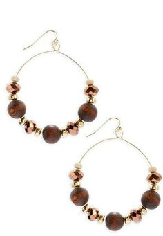 Cato Fashions Wood Beaded Hoop Earrings #CatoFashions #CatoSummerStyle