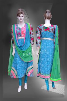 Turquoise blue chickankari embroidered pure Georgette suit #FDSKH0056_001