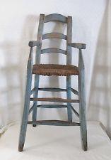 Primitive Early Hi Chair w/ Early Rush Seat, BEST Blue   AAFA